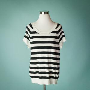 Torrid 0 Striped Pullover Short Sleeve Knit Top